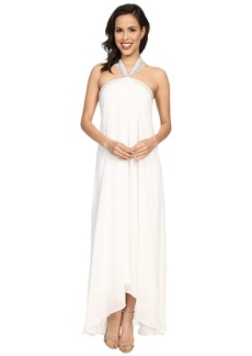 Badgley Mischka Solid Halter Draped Gown