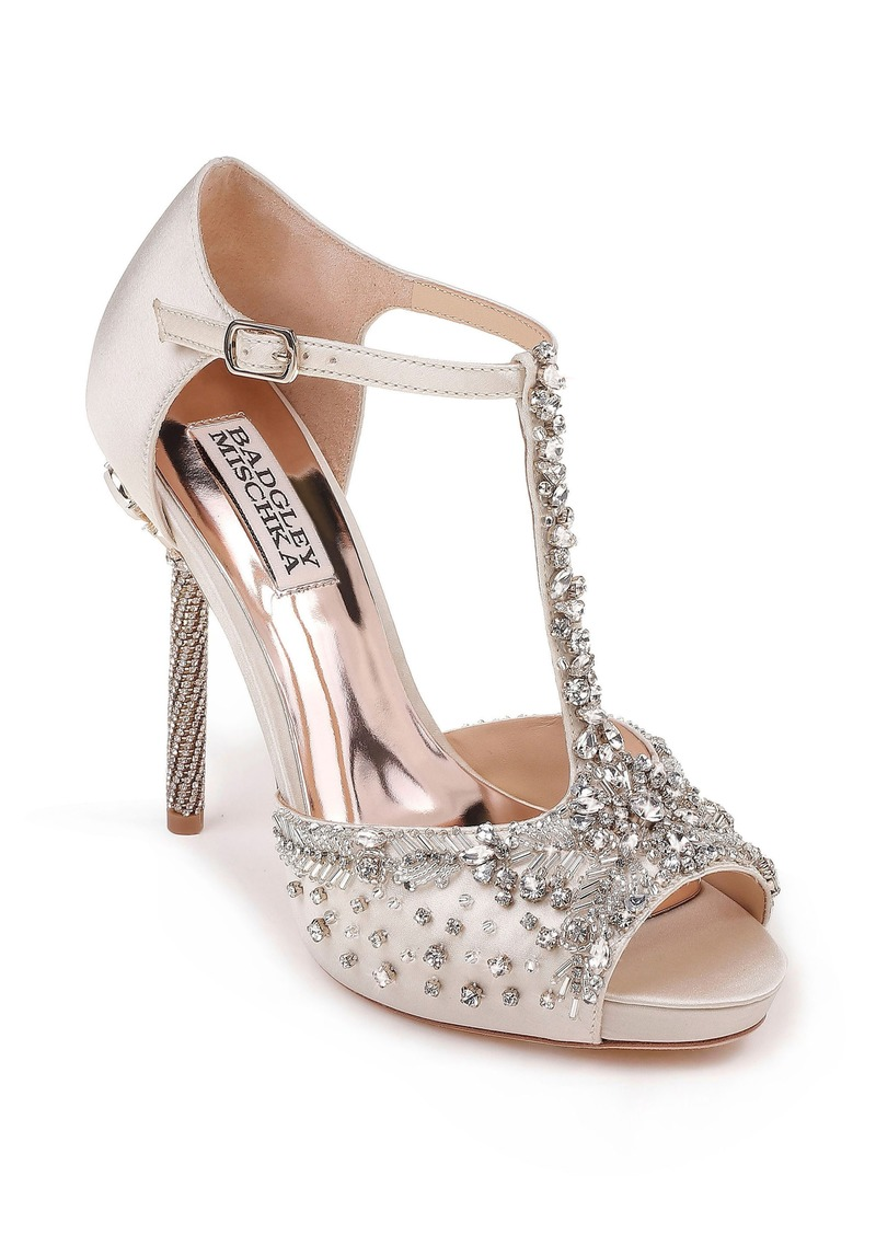 2639808637d Badgley Mischka Badgley Mischka Stacey Crystal Embellished T-Strap ...