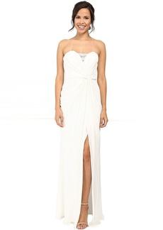 Badgley Mischka Strapless Asymmetrical Draped Gown