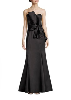 Badgley Mischka Strapless Bow Gown