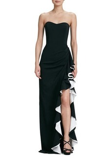 Badgley Mischka Strapless Colorblock Gown
