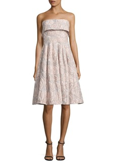Badgley Mischka Strapless Floral Jacquard Dress