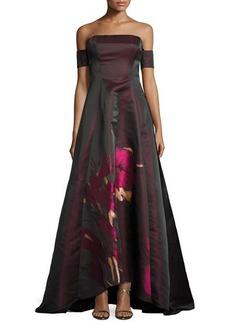 Badgley Mischka Strapless Floral Taffeta Ball Gown