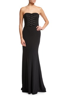 Badgley Mischka Strapless Pleated Front Column Crepe Evening Gown