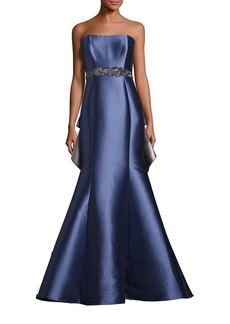 Badgley Mischka Strapless Ruffle Back Gown