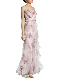 Badgley Mischka Strapless Ruffled Silk Gown