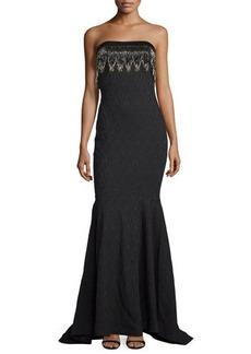 Badgley Mischka Strapless Textured Gown W/Beaded Fringe