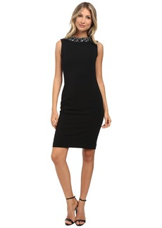 Badgley Mischka Stretch Crepe Cowl Black Cocktail Dress