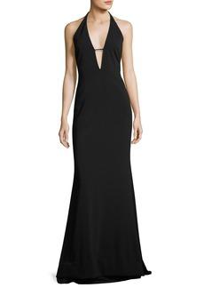 Badgley Mischka Stretch Crepe Halter Evening Gown