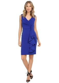Badgley Mischka Stretch Crepe V-Neck Side Ruffle