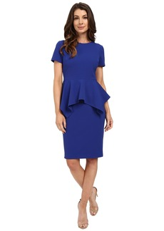 Badgley Mischka Stretch Faille Peplum Dress