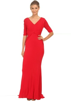 Badgley Mischka Stretch Matte Jersey V-Neck Gown