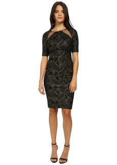 Badgley Mischka Stretch Metallic Knit Cocktail Dress