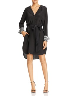 Badgley Mischka Stripe Cuff Shirt Dress