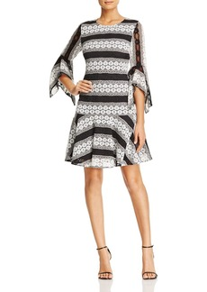 Badgley Mischka Stripe Lace Dress