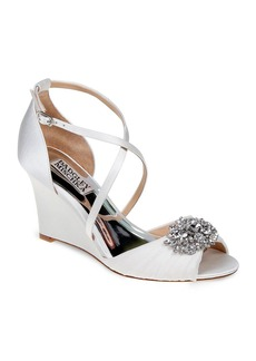 Badgley Mischka Tacey Embellished Crisscross Wedge Sandals