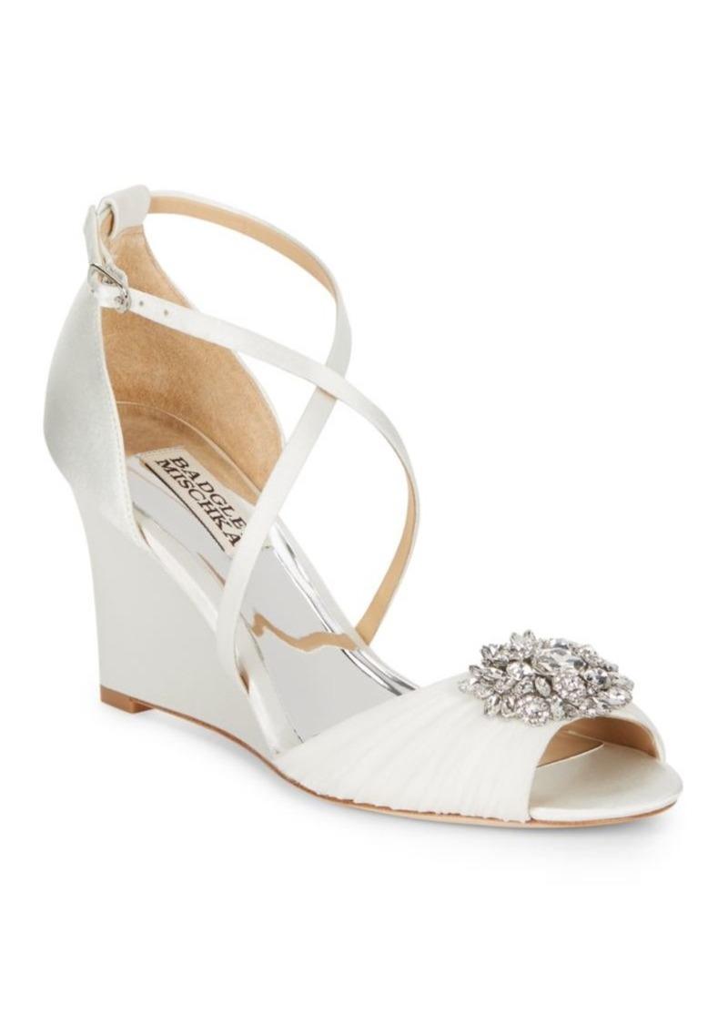 Badgley Mischka Tacey Embellished Satin Wedge Heel Sandals