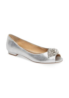 Badgley Mischka Taft Peep Toe Flat (Women)