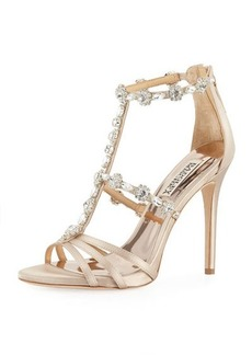 Badgley Mischka Thelma Satin Embellished Sandal
