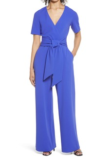 Badgley Mischka Collection Tie Front Short Sleeve Stretch Crepe Jumpsuit
