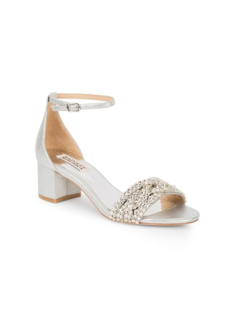 Badgley Mischka Triana Satin Open Toe Pumps