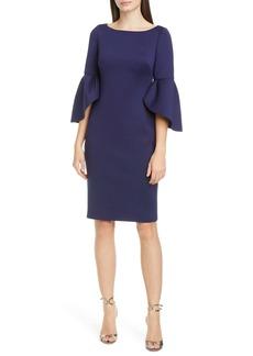 Badgley Mischka Tulip Sleeve Cocktail Dress