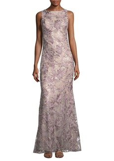 Badgley Mischka Tulle Embroidered Floor-Length Gown