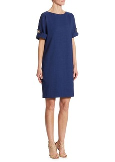 Badgley Mischka Turnlock Sleeve Shift Dress