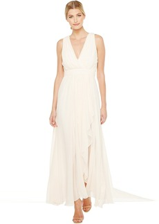 Badgley Mischka V-Neck Draped Gown with Slit