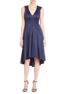 Badgley Mischka V-Neck High Low Dress