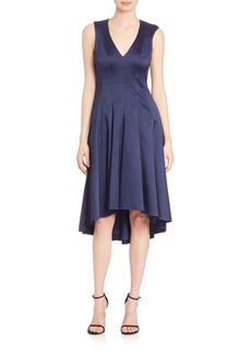 Badgley Mischka V-Neck High Low Dress