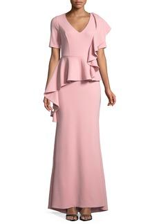 Badgley Mischka V-neck Peplum Gown w/ Cascading Ruffle