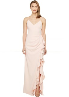 Badgley Mischka V-Neck Ruffle Front Gown