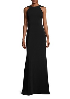 BADGLEY MISCHKA V Ruffled Back Evening Gown