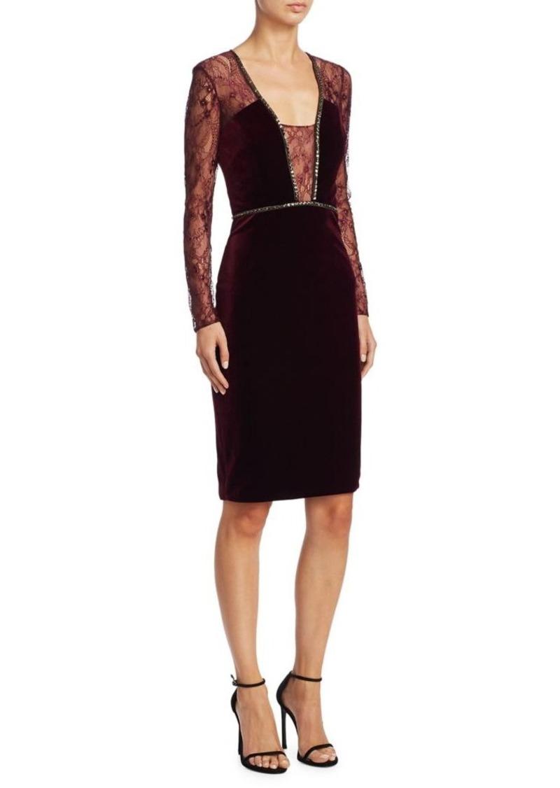 Badgley Mischka Velvet Beaded Tail Dress