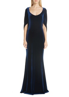 Badgley Mischka Platinum Velvet Drape Sleeve Gown