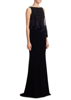Badgley Mischka Velvet Floor-Length Sheath Gown