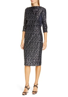 Badgley Mischka Sequin Embellished Blouson Evening Dress