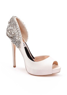 Badgley Mischka Vicki Crystal Embellished Peep Toe Pump (Women)