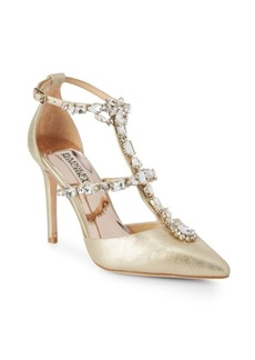 Badgley Mischka Warner Embellished Leather Stiletto Pumps