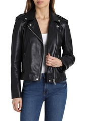 Badgley Mischka Washed Leather Biker Jacket