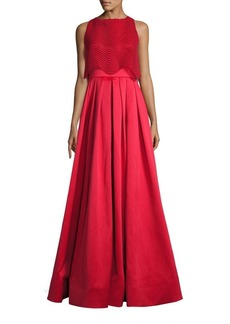 Badgley Mischka Wave Lace Popover Gown