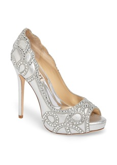 Badgley Mischka Witney Embellished Peep Toe Pump (Women)