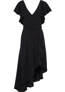 Badgley Mischka Woman Asymmetric Belted Ruffled Cady Dress Black