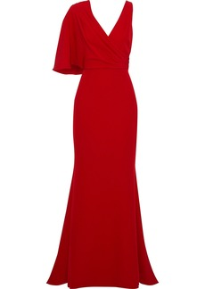 Badgley Mischka Woman Asymmetric Draped Crepe Gown Crimson