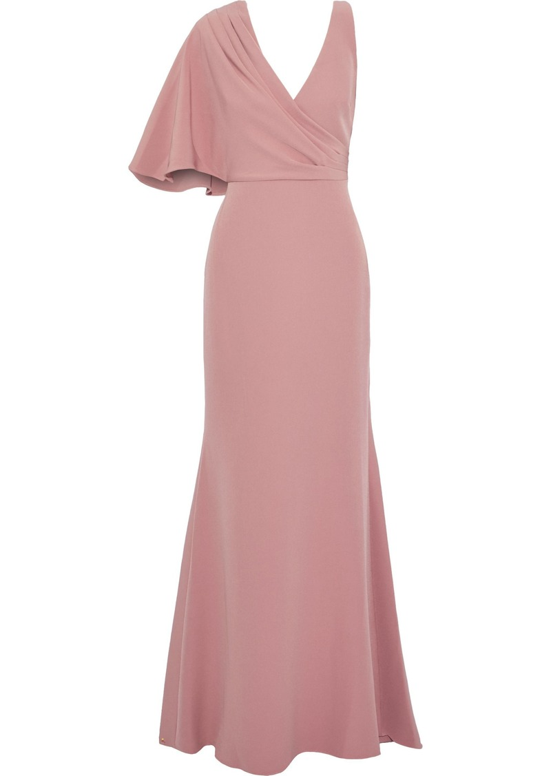 Badgley Mischka Woman Asymmetric Fluted Crepe Gown Blush
