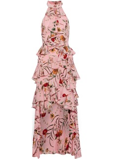Badgley Mischka Woman Asymmetric Ruffled Floral-print Crepe De Chine Gown Baby Pink