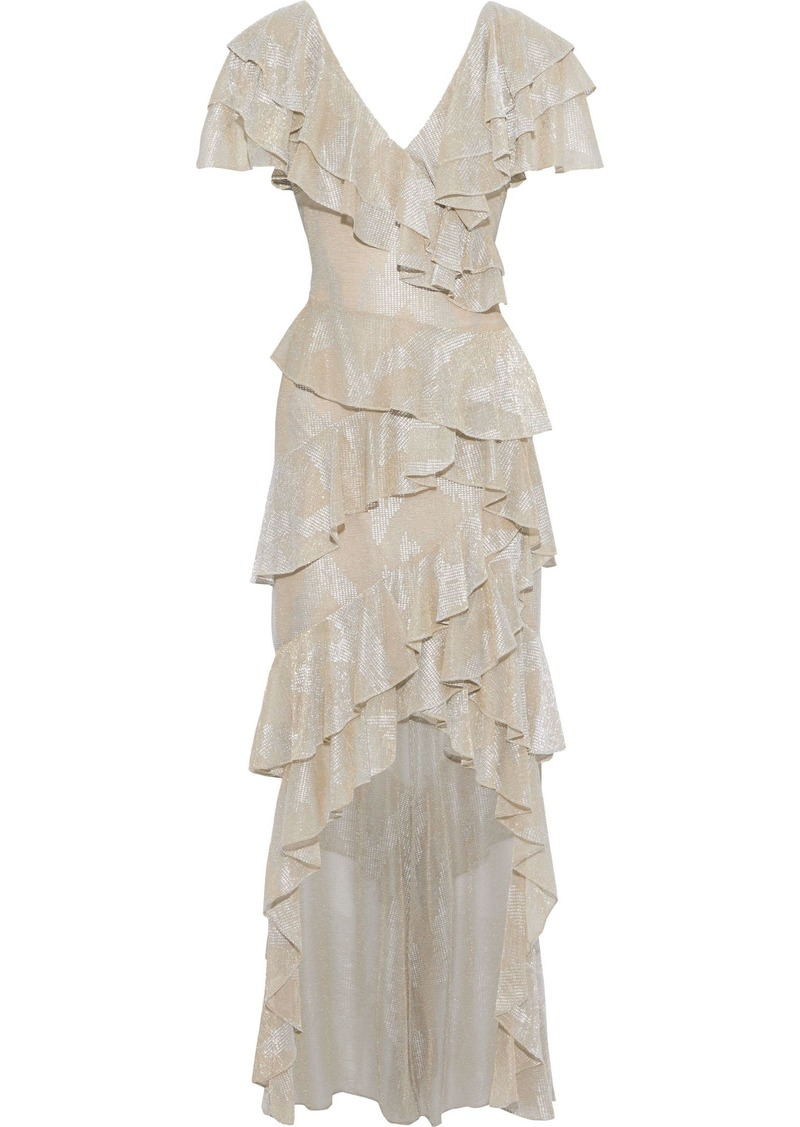 Badgley Mischka Woman Asymmetric Ruffled Metallic Printed Stretch-knit Gown Neutral