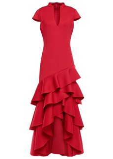 Badgley Mischka Woman Asymmetric Tiered Scuba Gown Claret