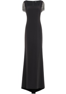 Badgley Mischka Woman Beaded Fringe-trimmed Cady Gown Charcoal